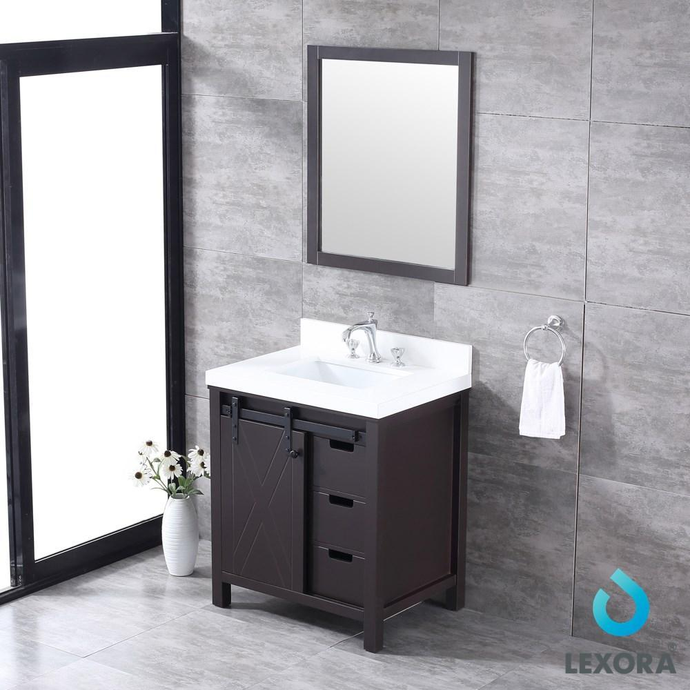 "Marsyas 30"" Brown Single Vanity Cabinet Quartz Top Square Sink & 28"" Wall Mirror LM342230SCCSM28"
