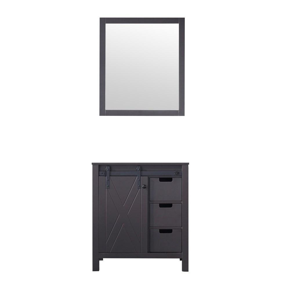 "Marsyas 30"" Brown Single Vintage Bathroom Vanity Cabinet & 28"" Wall Mirror LM342230SC00M28"