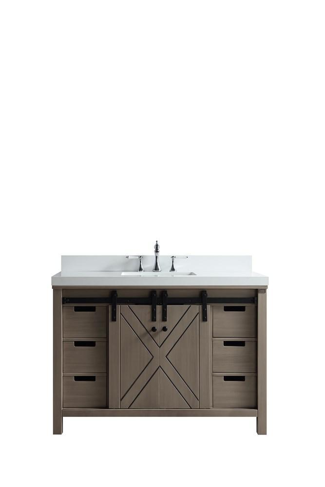 "Marsyas 48"" Ash Grey Single Bathroom Vanity Cabinet Quartz Top Square Sink LM342248SHCS000"