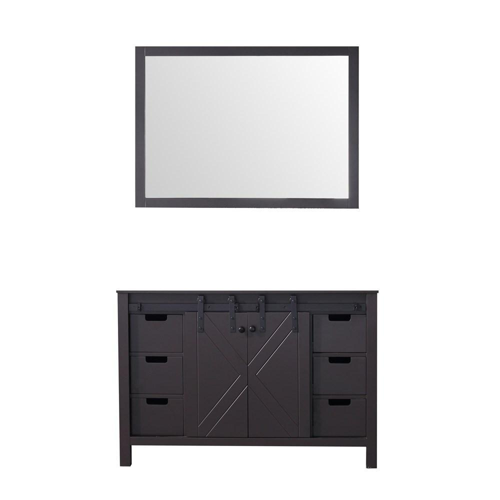 "Marsyas 48"" Brown Single Vintage Bathroom Vanity Cabinet & 44"" Wall Mirror LM342248SC00M44"