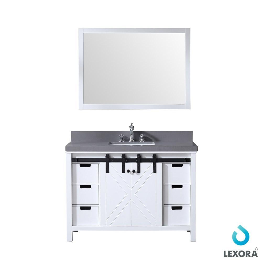 "Marsyas 48"" Single Vanity Cabinet Grey Quartz Top Square Sink & 44"" Wall Mirror LM342248SAASM44"