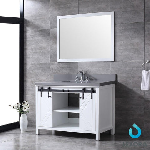"Image of Marsyas 48"" Single Vanity Cabinet Grey Quartz Top Square Sink & 44"" Wall Mirror LM342248SAASM44"