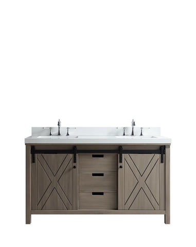 "Marsyas 60"" Ash Grey Double Bathroom Vanity Cabinet Quartz Top Square Sinks LM342260DHCS000"