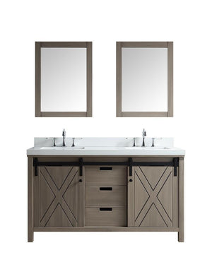"Marsyas 60"" Ash Grey Double Vanity Cabinet Quartz Top Sinks & 24"" Wall Mirrors LM342260DHCSM24"