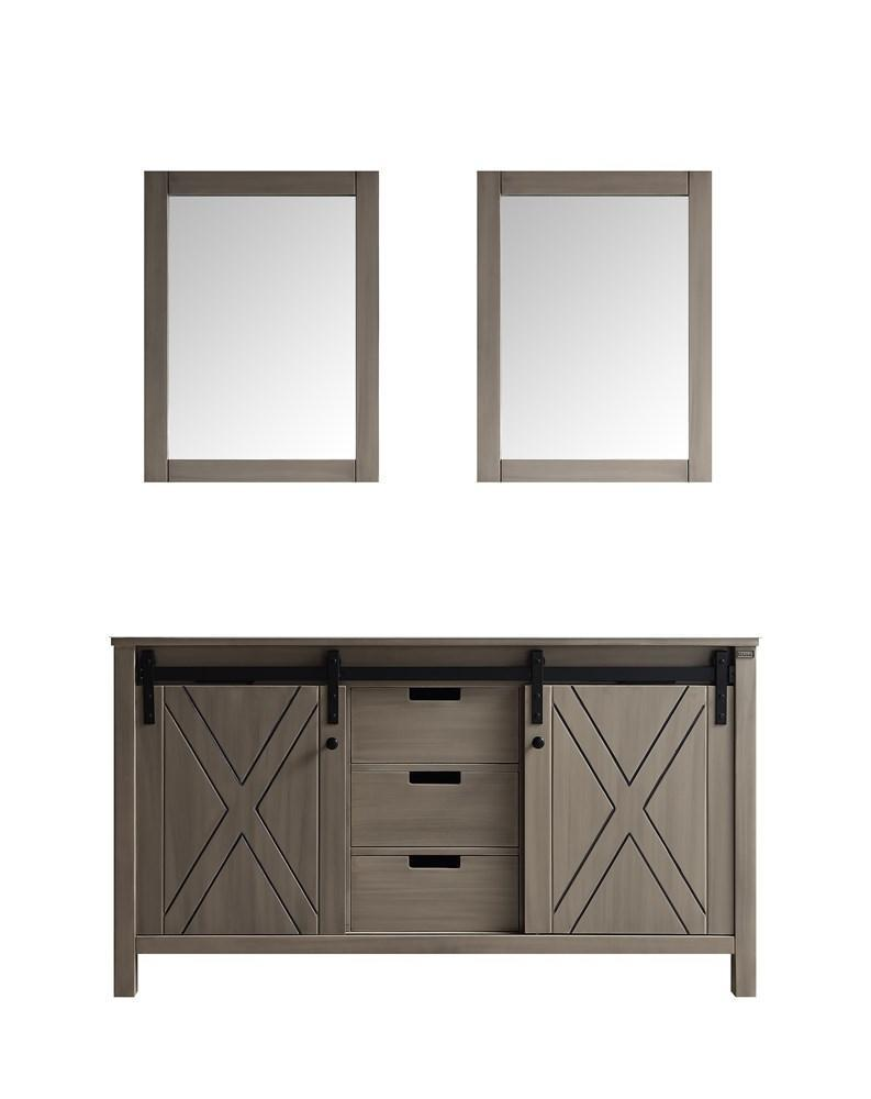 "Marsyas 60"" Ash Grey Double Vintage Bathroom Vanity Cabinet & 24"" Wall Mirrors LM342260DH00M24"