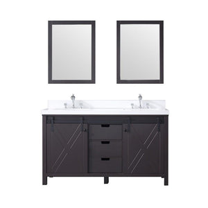 "Marsyas 60"" Brown Double Vanity Cabinet Quartz Top Sinks & 24"" Wall Mirrors LM342260DCCSM24"