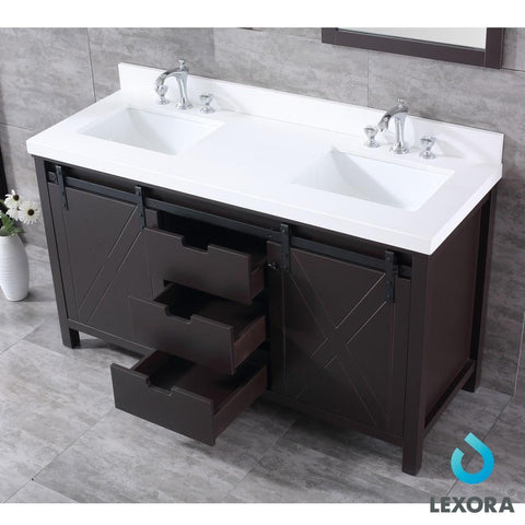 "Image of Marsyas 60"" Brown Double Vanity Cabinet Quartz Top Sinks & 24"" Wall Mirrors LM342260DCCSM24"
