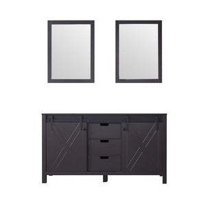 "Marsyas 60"" Brown Double Vintage Bathroom Vanity Cabinet & 24"" Wall Mirrors LM342260DC00M24"