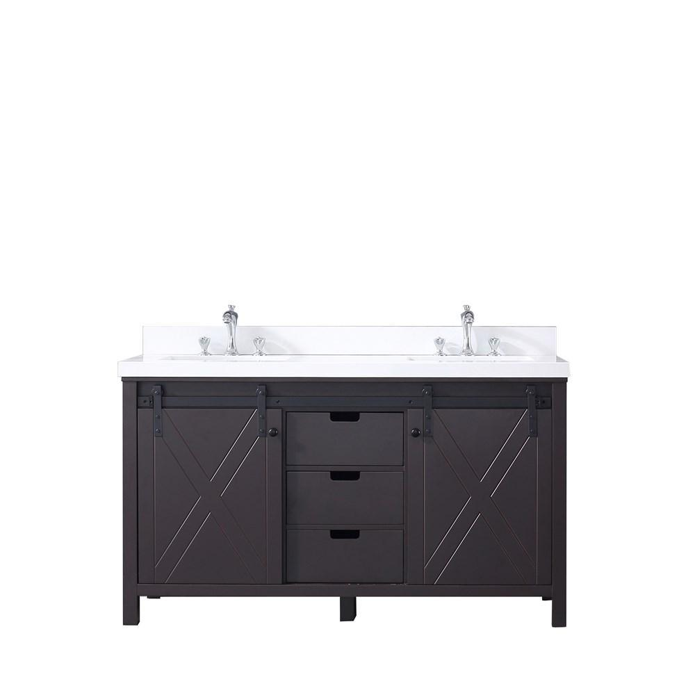 "Marsyas 60"" Brown Double Vintage Bathroom Vanity Cabinet Quartz Top Square Sinks LM342260DCCS000"