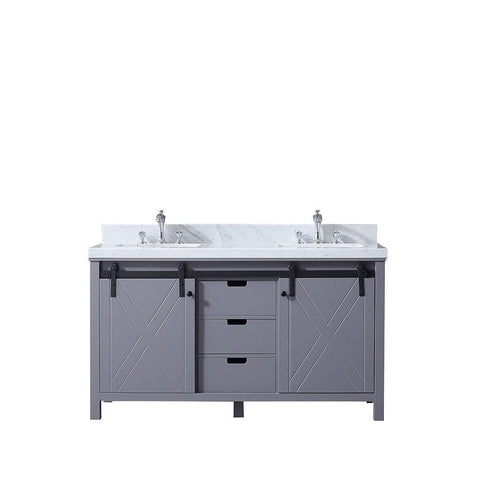 "Marsyas 60"" Dark Grey Double Bath Vanity Cabinet Carrara Marble Top Square Sinks LM342260DBBS000"