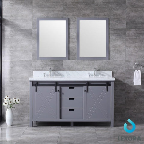 "Marsyas 60"" Dark Grey Double Vanity Carrara Marble Top Sinks & 24"" Wall Mirrors LM342260DBBSM24"