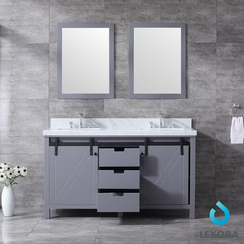"Image of Marsyas 60"" Dark Grey Double Vanity Carrara Marble Top Sinks & 24"" Wall Mirrors LM342260DBBSM24"