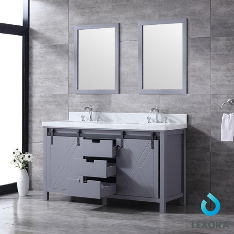 "Image of Marsyas 60"" Dark Grey Double Vanity 