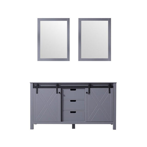 "Marsyas 60"" Dark Grey Double Vintage Bathroom Vanity Cabinet & 24"" Wall Mirrors LM342260DB00M24"