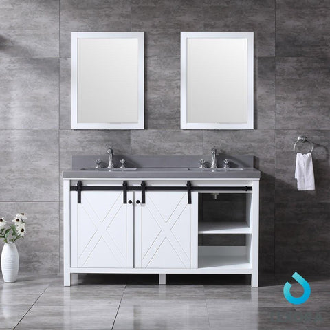 "Image of Marsyas 60"" Double Vanity Cabinet Grey Quartz Top Sinks & 24"" Wall Mirrors LM342260DAASM24"