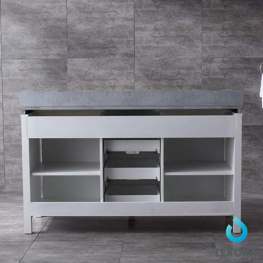 "Marsyas 60"" Double Vanity Cabinet Grey Quartz Top Sinks & 24"" Wall Mirrors LM342260DAASM24"