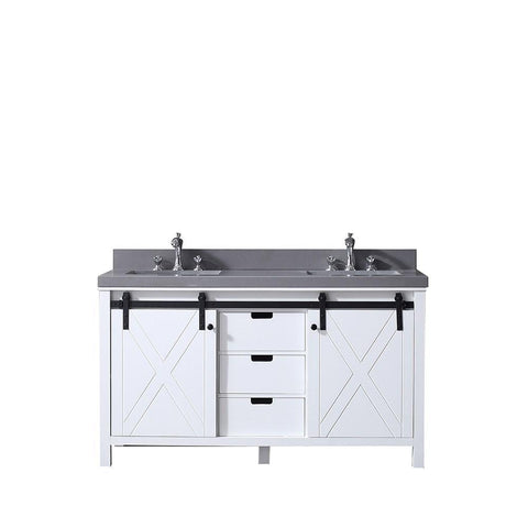 "Marsyas 60"" Double Vintage Bathroom Vanity Cabinet Grey Quartz Top Square Sinks LM342260DAAS000"