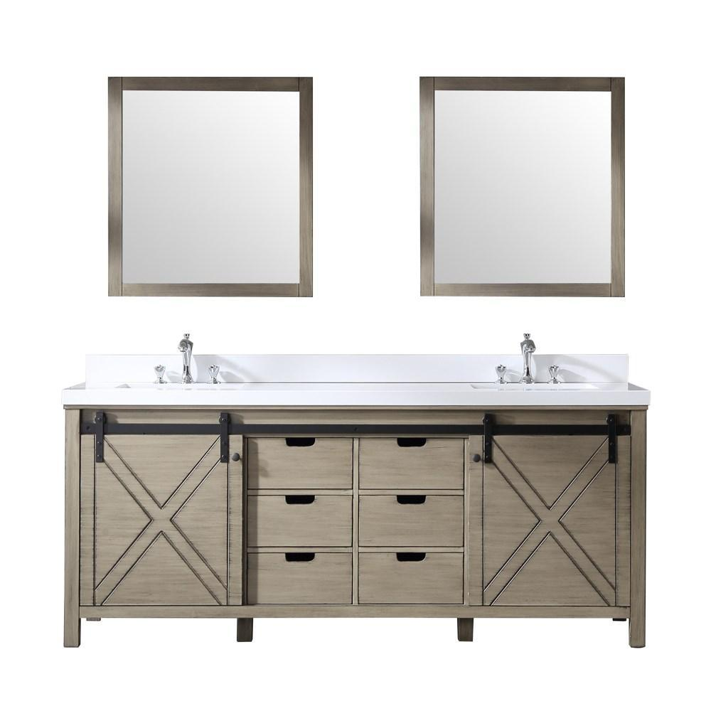 "Marsyas 80"" Ash Grey Double Vanity Ash Grey Quartz Top Sinks & 30"" Wall Mirrors LM342280DHCSM30"