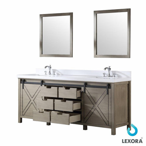 "Image of Marsyas 80"" Ash Grey Double Vanity Ash Grey Quartz Top Sinks & 30"" Wall Mirrors LM342280DHCSM30"