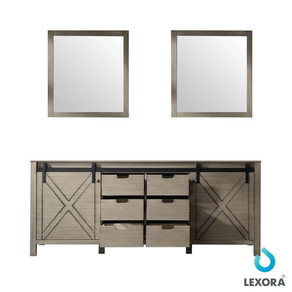 "Marsyas 80"" Ash Grey Double Vintage Bathroom Vanity Cabinet & 30"" Wall Mirrors LM342280DH00M30"