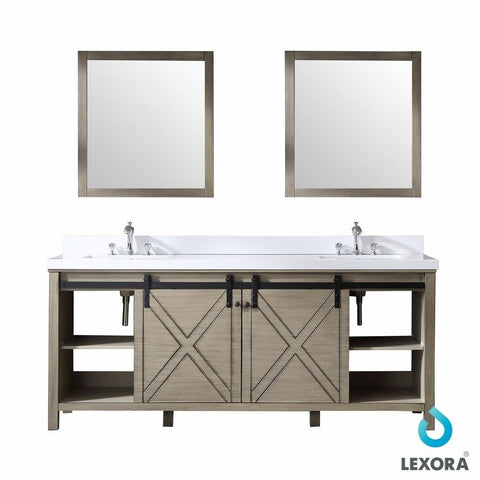 "Image of Marsyas 80"" Ash Grey Double Vintage Bathroom Vanity Cabinet & 30"" Wall Mirrors LM342280DH00M30"