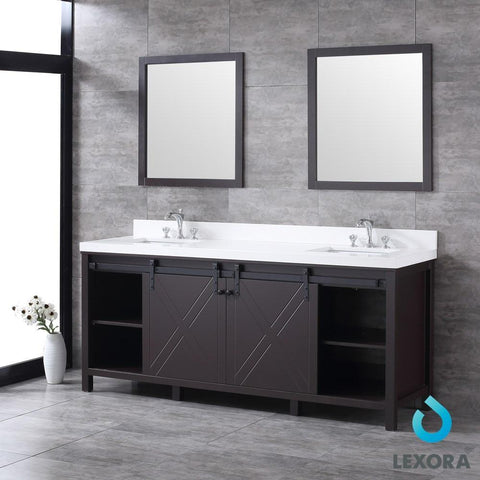 "Image of Marsyas 80"" Brown Double Vanity Cabinet Quartz Top Sinks & 30"" Wall Mirrors LM342280DCCSM30"