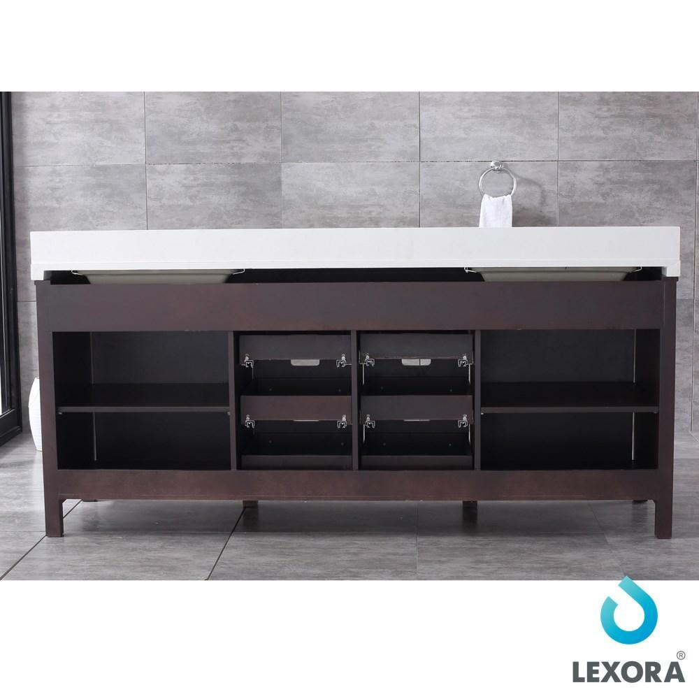 "Marsyas 80"" Brown Double Vanity Cabinet Quartz Top Sinks & 30"" Wall Mirrors LM342280DCCSM30"
