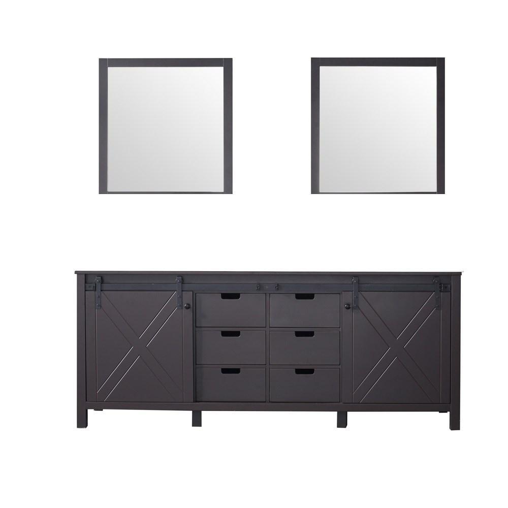 "Marsyas 80"" Brown Double Vintage Bathroom Vanity Cabinet & 30"" Wall Mirrors LM342280DC00M30"