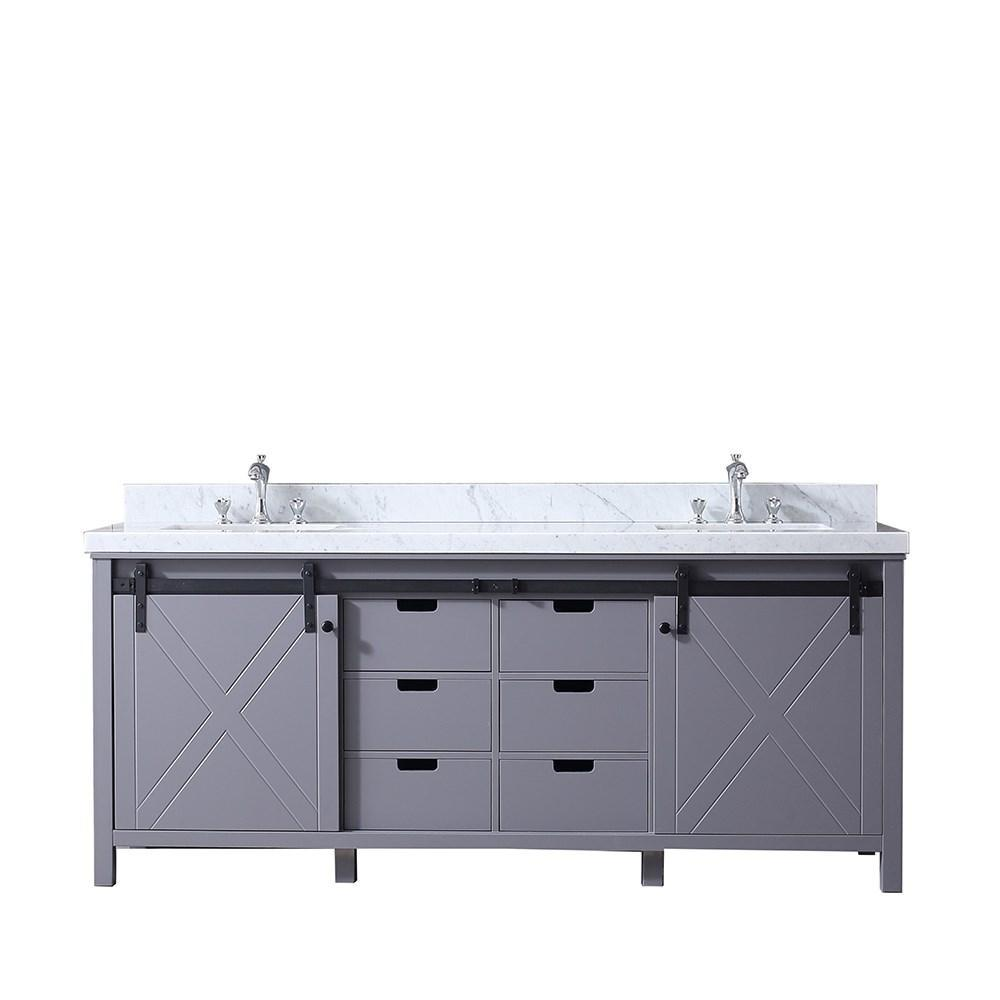 "Marsyas 80"" Dark Grey Double Bath Vanity Cabinet Carrara Marble Top Square Sinks LM342280DBBS000"