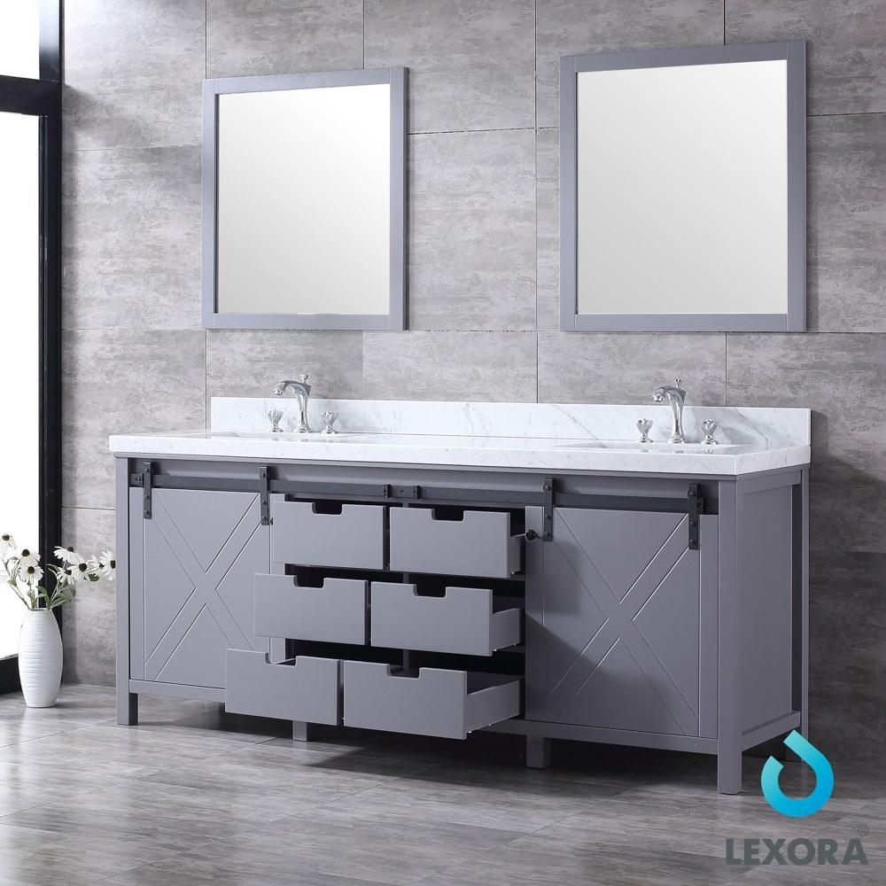 "Marsyas 80"" Dark Grey Double Vanity Carrara Marble Top Sinks & 30"" Wall Mirrors LM342280DBBSM30"