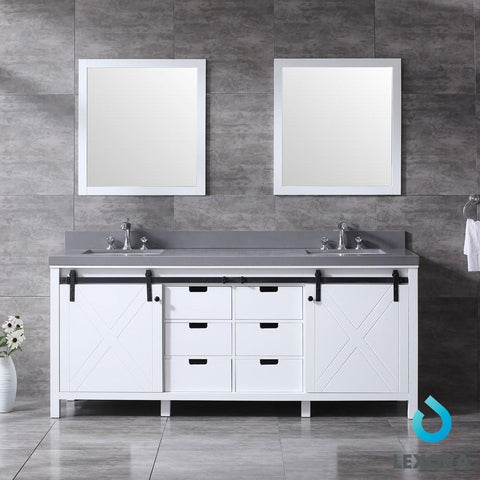 "Marsyas 80"" Double Vanity Cabinet Grey Quartz Top Sinks & 30"" Wall Mirrors LM342280DAASM30"
