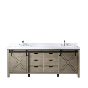 "Marsyas 84"" Ash Grey Double Bathroom Vanity Cabinet Quartz Top Square Sinks LM342284DHCS000"