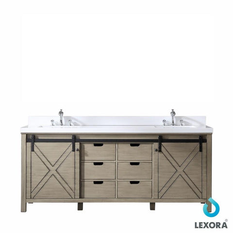 "Image of Marsyas 84"" Ash Grey Double Bathroom Vanity Cabinet Quartz Top Square Sinks LM342284DHCS000"
