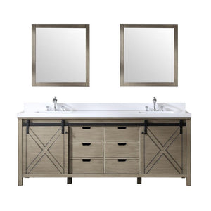 "Marsyas 84"" Ash Grey Double Vanity Cabinet Quartz Top Sinks & 34"" Wall Mirrors LM342284DHCSM34"
