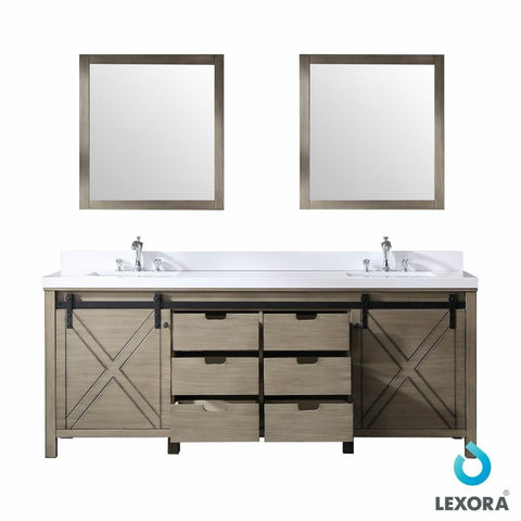 "Image of Marsyas 84"" Ash Grey Double Vanity Cabinet Quartz Top Sinks & 34"" Wall Mirrors LM342284DHCSM34"