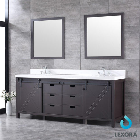 "Marsyas 84"" Brown Double Vanity Cabinet Quartz Top Sinks & 34"" Wall Mirrors LM342284DCCSM34"