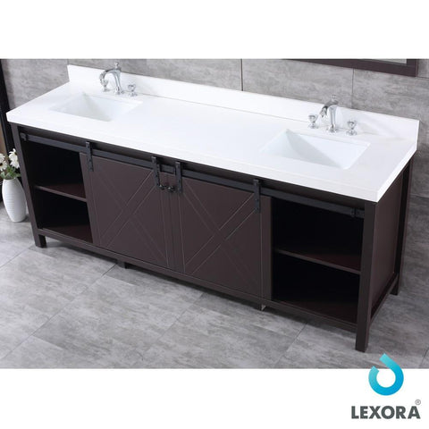 "Image of Marsyas 84"" Brown Double Vanity Cabinet Quartz Top Sinks & 34"" Wall Mirrors LM342284DCCSM34"