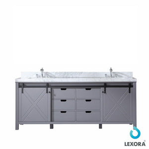 "Marsyas 84"" Dark Grey Double Bath Vanity Cabinet Carrara Marble Top Square Sinks LM342284DBBS000"