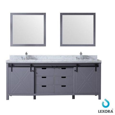 "Marsyas 84"" Dark Grey Double Vanity Carrara Marble Top Sinks & 34"" Wall Mirrors LM342284DBBSM34"