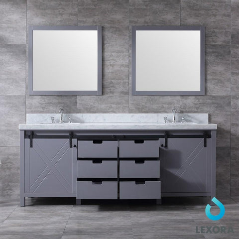 "Image of Marsyas 84"" Dark Grey Double Vanity Carrara Marble Top Sinks & 34"" Wall Mirrors LM342284DBBSM34"