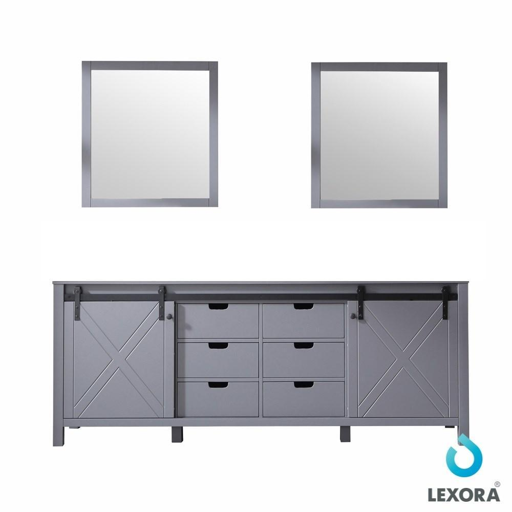 "Marsyas 84"" Dark Grey Double Vintage Bathroom Vanity Cabinet & 34"" Wall Mirrors LM342284DB00M34"