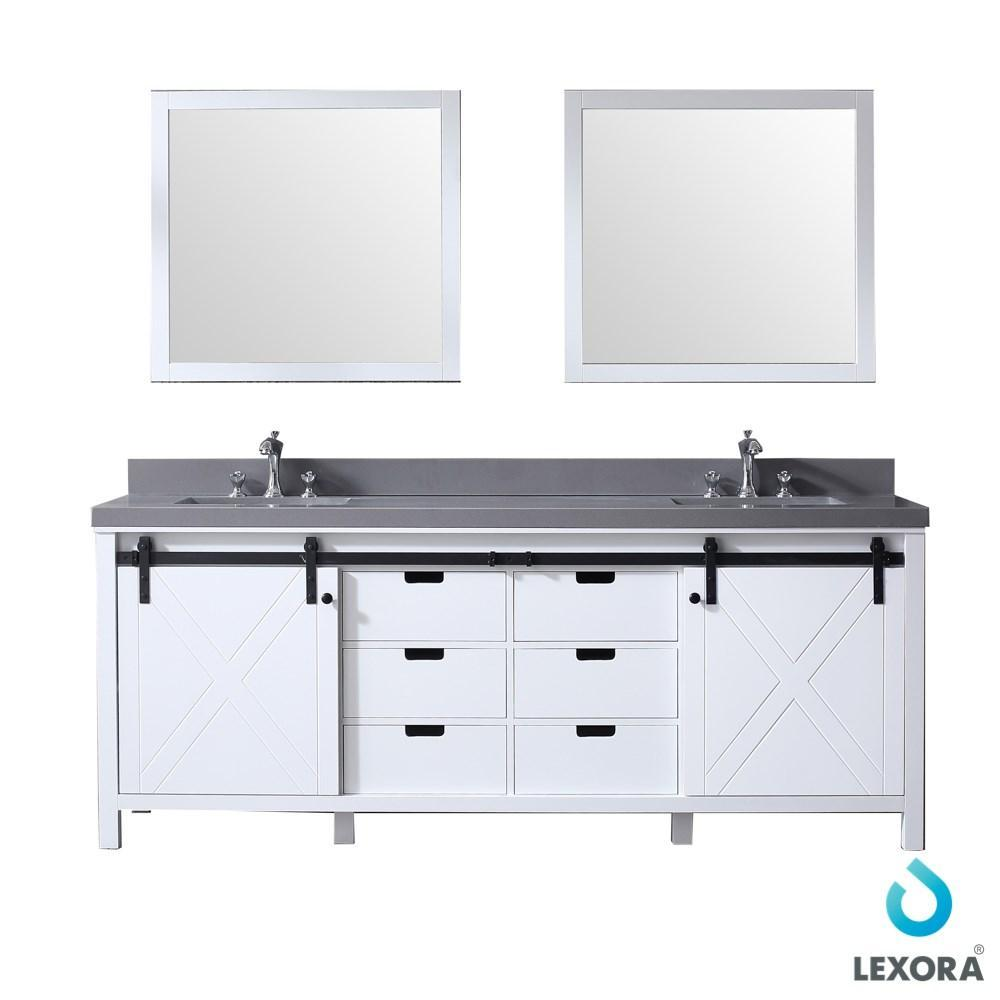 "Marsyas 84"" Double Vanity Cabinet Grey Quartz Top Sinks & 34"" Wall Mirrors LM342284DAASM34"