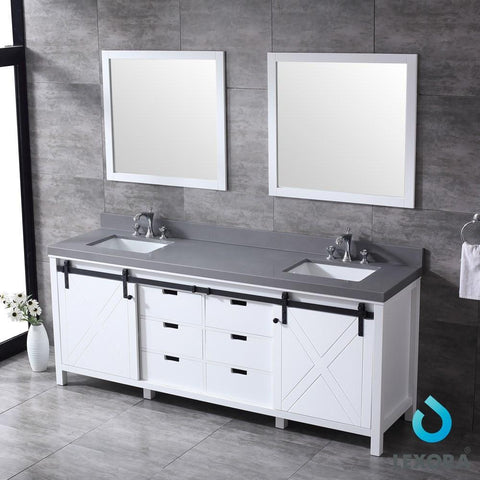 "Image of Marsyas 84"" Double Vanity Cabinet Grey Quartz Top Sinks & 34"" Wall Mirrors LM342284DAASM34"