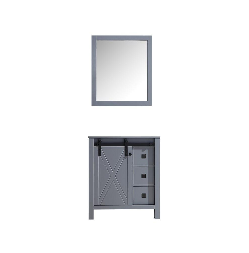"Marsyas Veluti 30"" Dark Grey Single Bathroom Vanity Cabinet & 28"" Wall Mirror LM343330SB00M28"