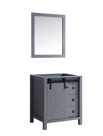 "Image of Marsyas Veluti 30"" Dark Grey Single Bathroom Vanity Cabinet & 28"" Wall Mirror LM343330SB00M28"