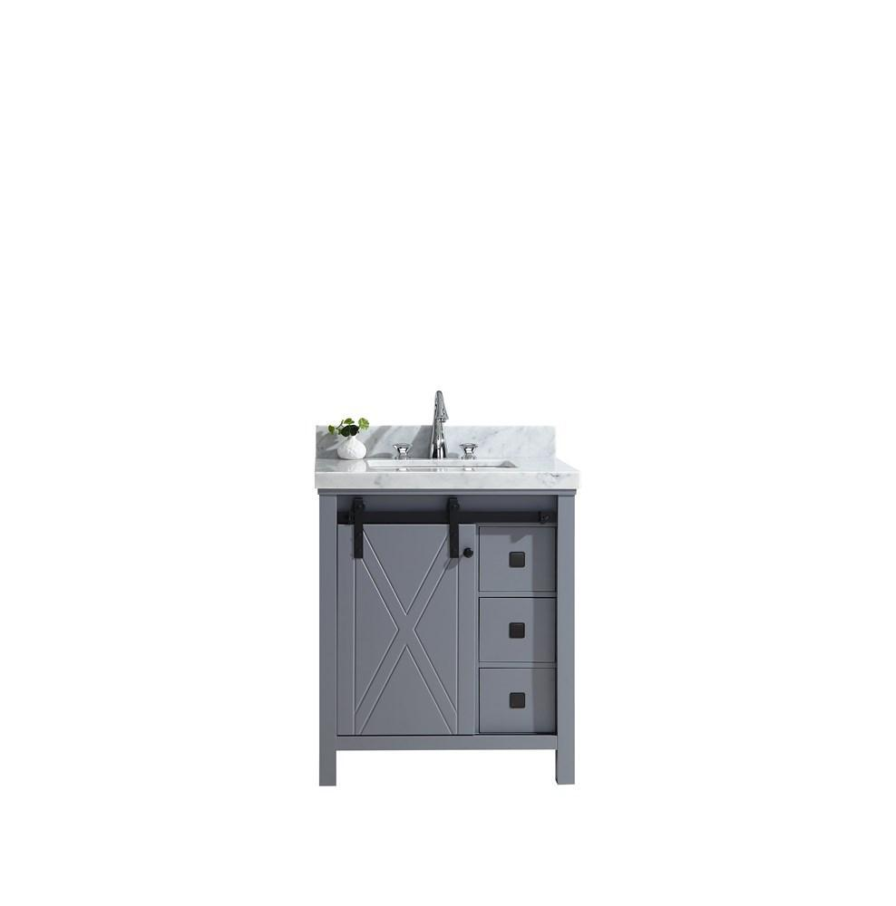 "Marsyas Veluti 30"" Dark Grey Single Vanity Cabinet Carrara Marble Top Sink LM343330SBBS000"
