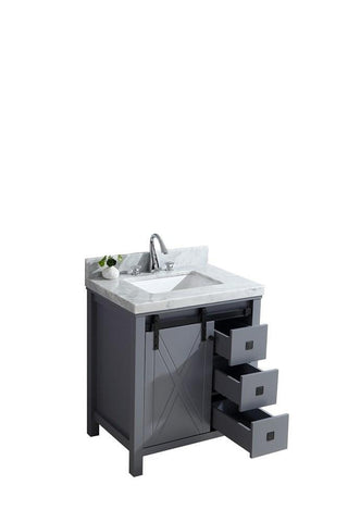 "Image of Marsyas Veluti 30"" Dark Grey Single Vanity Cabinet Carrara Marble Top Sink LM343330SBBS000"