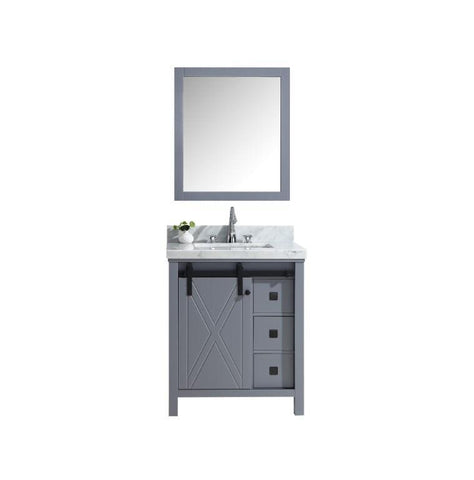 "Image of Marsyas Veluti 30"" Dark Grey Single Vanity Carrara Marble Top Sink & 28"" Mirror LM343330SBBSM28"