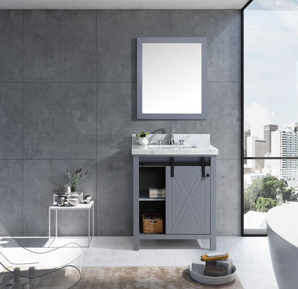 "Marsyas Veluti 30"" Dark Grey Single Vanity Carrara Marble Top Sink & 28"" Mirror LM343330SBBSM28"