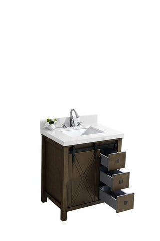 "Image of Marsyas Veluti 30"" Rustic Brown Single Vanity Cabinet Quartz Top Square Sink LM343330SKCS000"